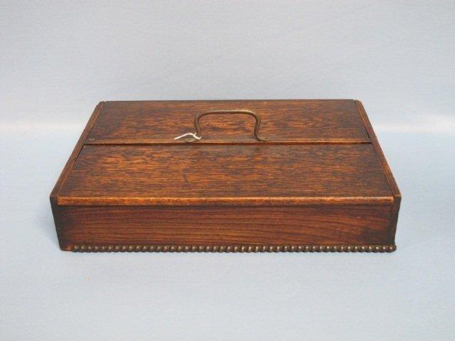 18: English Tiger Oak Cutlery Box 19th Century
