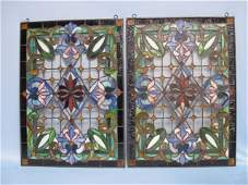20: Pair of Victorian Stained & Leaded Glass Panel