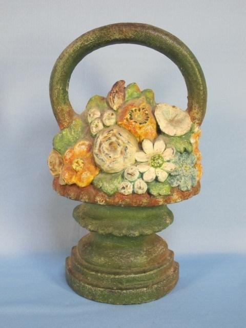 24: Vintage Cast Iron Flower Basket Door Stop