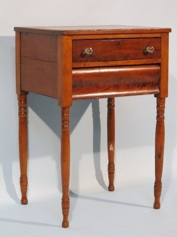 34: 19c Southern Mahogany 2 Drawer End Table