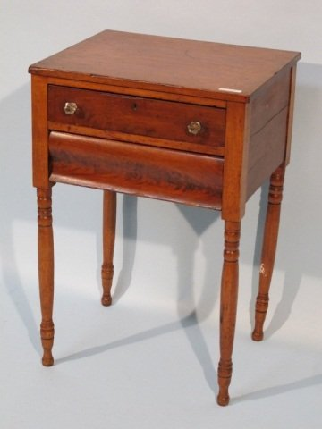 34: 19c Southern Mahogany 2 Drawer End Table - 2
