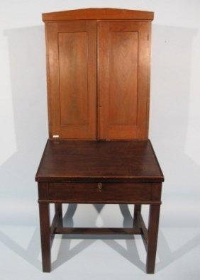 Texas Pine & Cherry Desk/Cabinet, 19c.