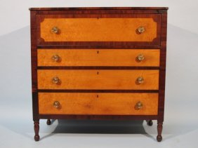 Early American Mahogany & Maple 4 Drawer Chest