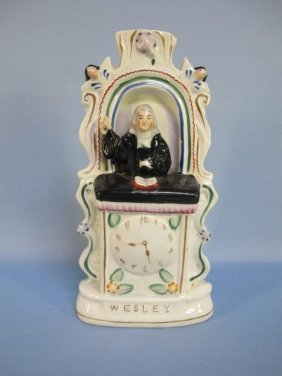 Staffordshire Rev. John Wesley In Pulpit, 19th C.