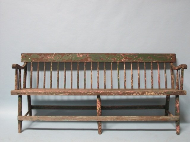 67: American Original Paint Large Windsor Bench 19th C