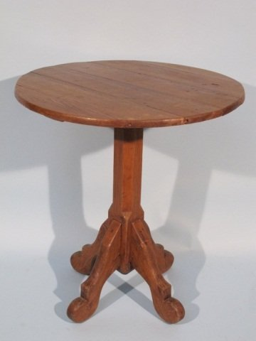 72: 19th C Rustic Stained Pine Pedestal Table
