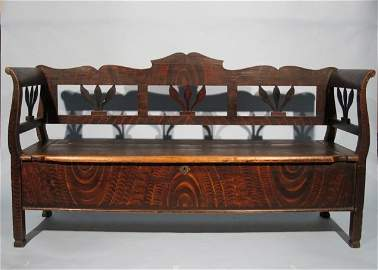 83: Fine Grain Painted 19th C. Bench/Chest