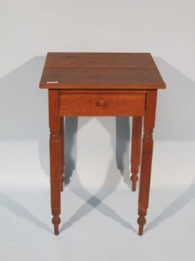 19c Soft Wood One Drawer End Table
