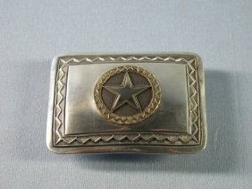 Navajo Sterling Belt Buckle By J.C. Delgarito