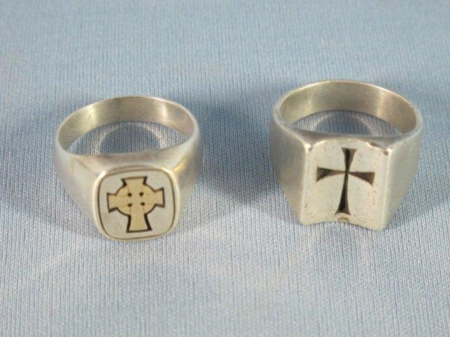 100: Two James Avery Man's Rings Cross Design