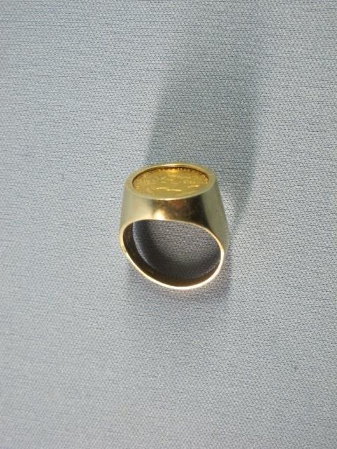 101: Man's 14K Yellow Gold Ring w/US 5 Dollar Coin