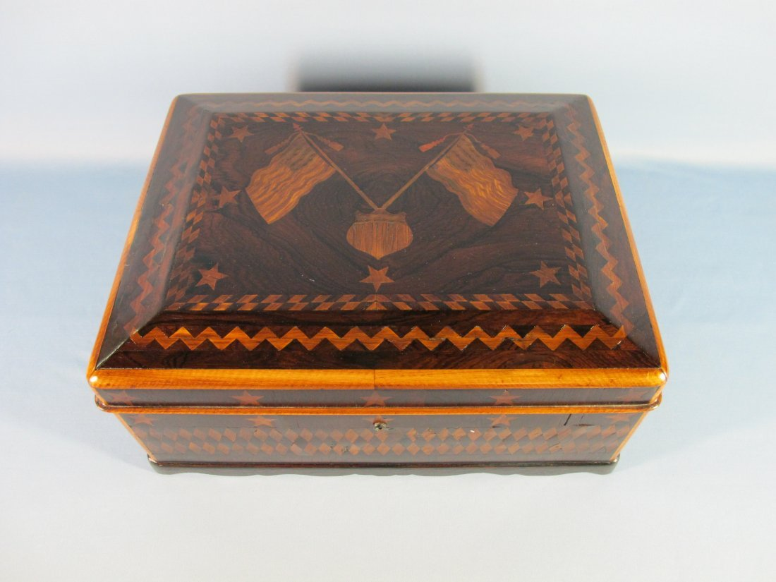104: 19th C. American Rosewood Marquetry Inlaid Box