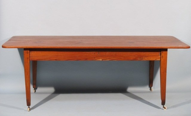 105: Early Texas Two Plank Top Pine Farmhouse Table