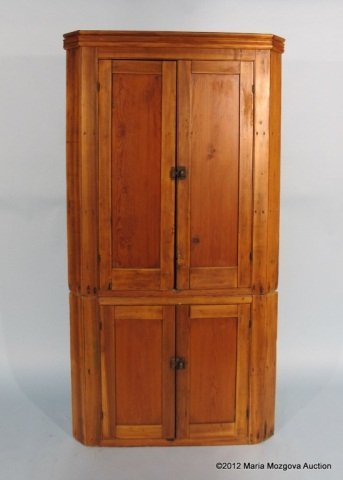 112: American Pine 2-Part Corner Cupboard, Circa 1830's