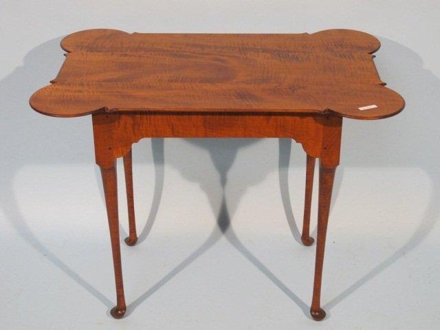 113: J.L. Treharn Porringer Tea Table Tiger Maple