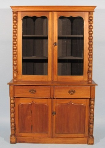 117: 19c Stained Pine China Cabinet