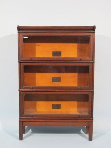 129: Macey Barrister 3 Section Bookcase, early 1900's