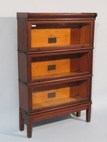 129: Macey Barrister 3 Section Bookcase, early 1900's - 2
