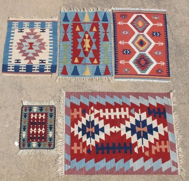 215: Assorted Lot of 5 Small Hand Made Flat Weave Rugs