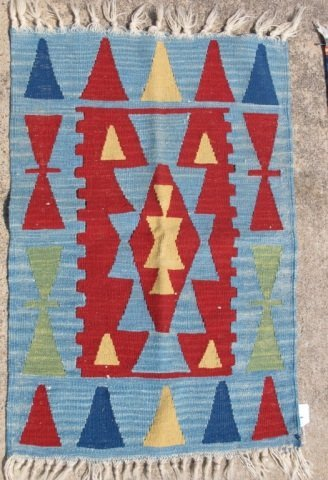 215: Assorted Lot of 5 Small Hand Made Flat Weave Rugs - 3