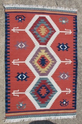 215: Assorted Lot of 5 Small Hand Made Flat Weave Rugs - 4