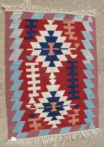 215: Assorted Lot of 5 Small Hand Made Flat Weave Rugs - 5