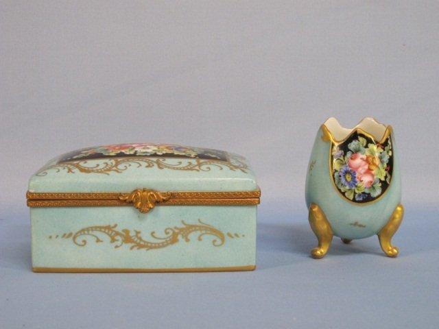 1: Limoges France Hand Painted Porcelain Box & Vase