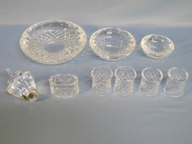 2: Waterford Crystal Ashtrays, Paperweight & Napkin