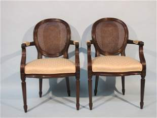 5: Pair of Louis XVI Style Cane Back Open Armchairs.