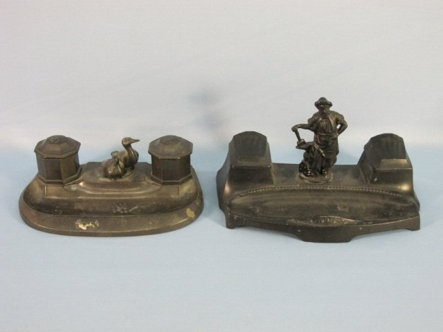 9: Two Vintage Cast Iron Inkwells
