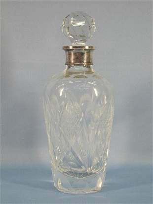 10: Nice Cut Crystal Decanter with Stopper, Silver Rim