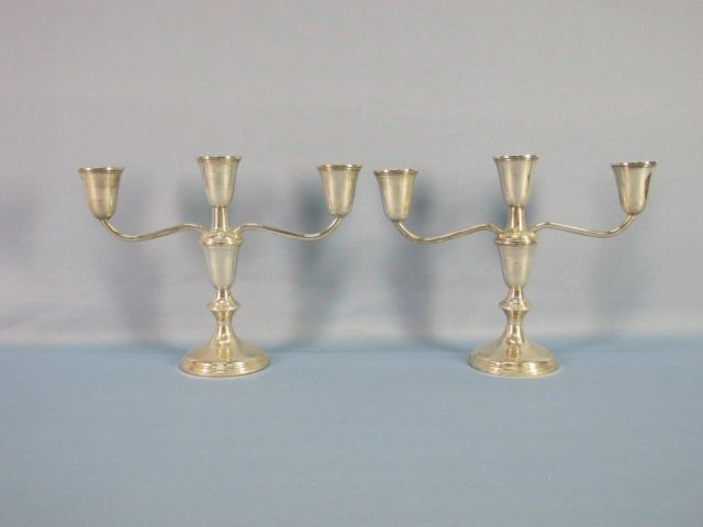 15: Pair Empire Weighted Sterling Silver Candleholders