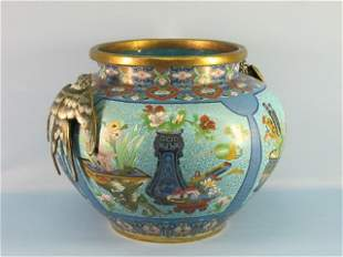 24: Chinese Cloisonne Fish Bowl With Bird Applique