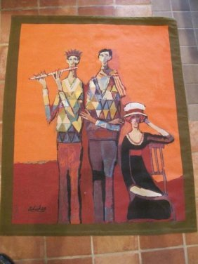 "David Adickes, ""Harlequin Family"" Tapestry"