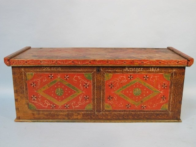 63: Pennsylvania Painted Dower Chest, 1874