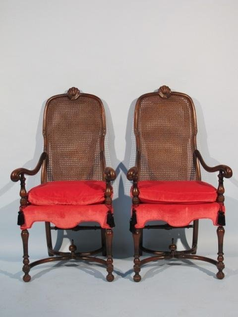 64: Pair Jacobean Style Oversized Cane Back Arm Chairs