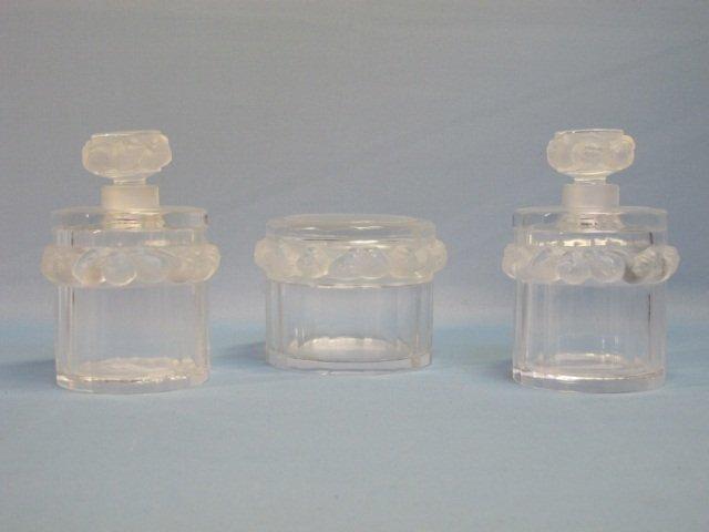 65: RARE Lalique France Garniture Robinson 3 PC Set
