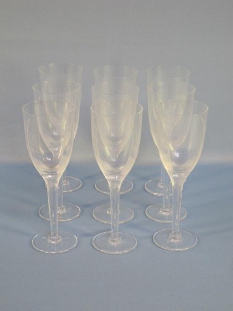 66: 9 LALIQUE GLASS CHAMPAGNE FLUTES: ANGE France