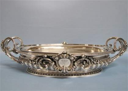 Massive French 19 C. Sterling Center Bowl 238 Troy Oz