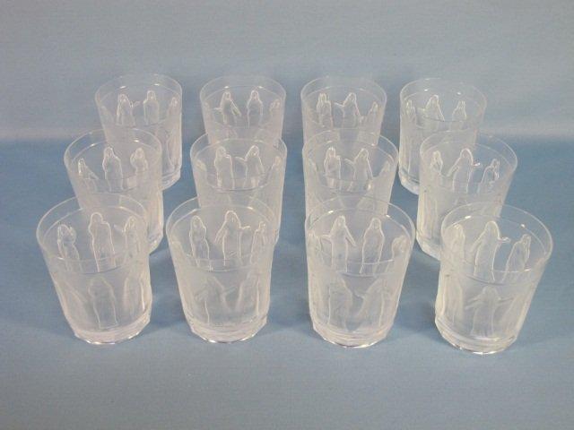 91: 12 Lalique Crystal Femmes Antiques Goblets/Tumbler