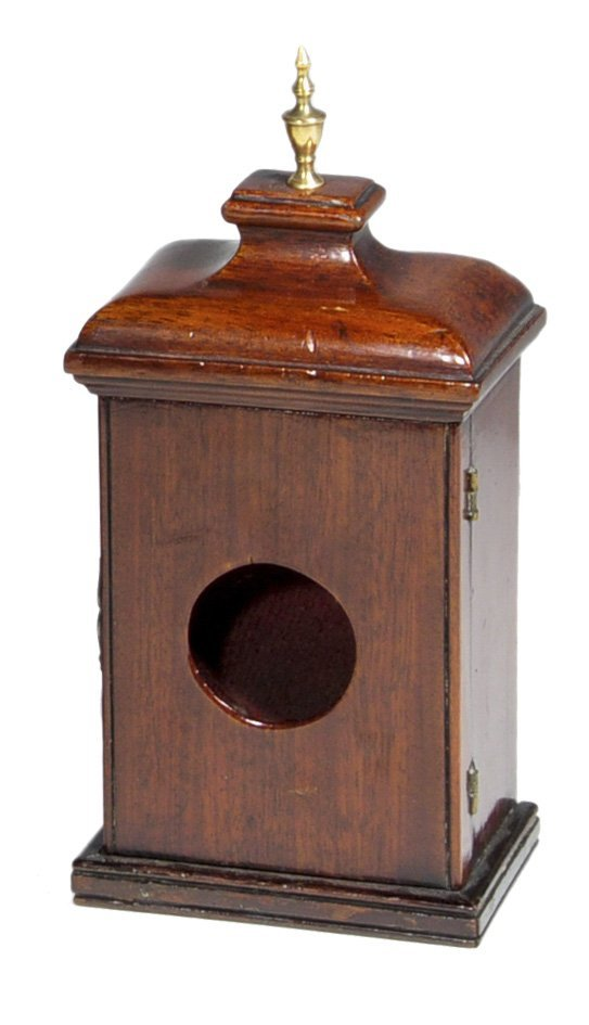 06: Rectangular watch hut with brass finial.