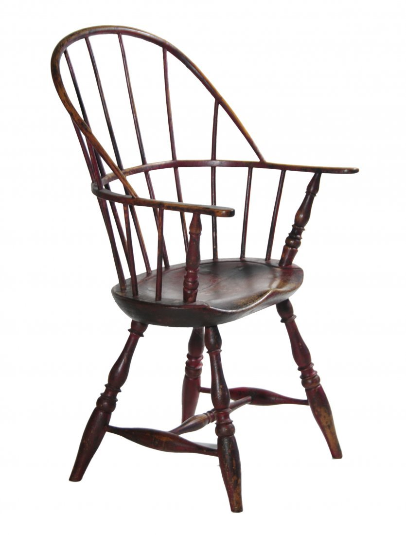 11: Red painted Windsor bow-back armchair