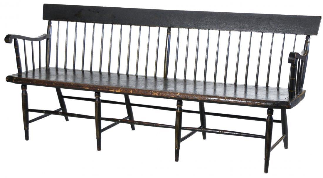 15: Black Painted Windsor Settee