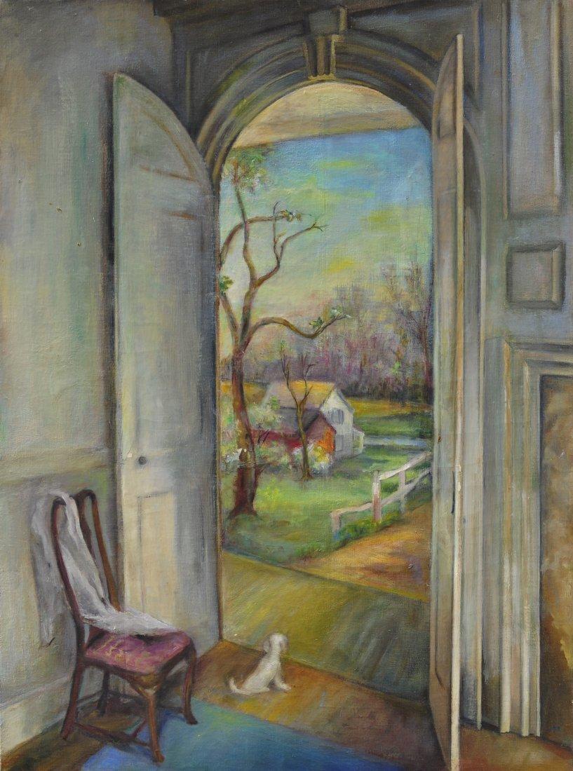 56: Oil on canvas interior scene by Grace Keast
