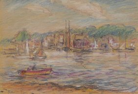 Mixed Media On Paper Of �Rockport�