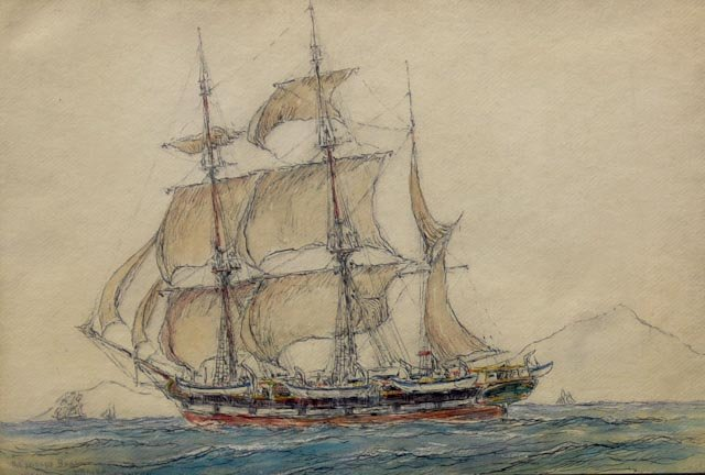 "117: Mixed media on paper entitled ""Whaler Canton, 1924"