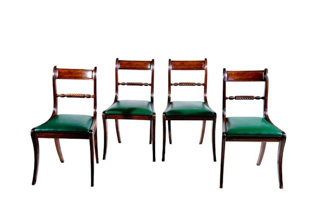 112: Set of four mahogany Federal side chairs