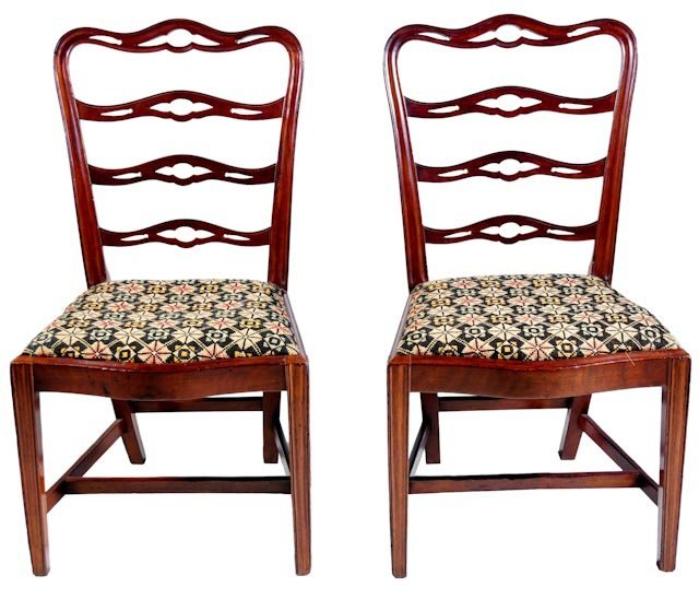 105: Pair of important mahogany ladderback sidechairs
