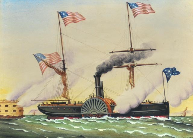 100: Watercolor on paper of American steamship