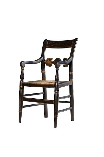 97: Black painted Federal child's arm chair